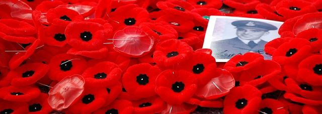 Plastic red poppies with a photograph of a soldier.
