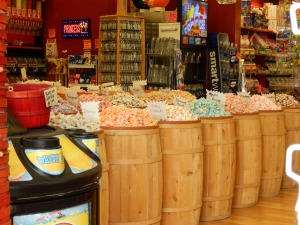Colorful varieties of taffy at Monterey's Candyland. Or to some a distracting diversity in need of revision.