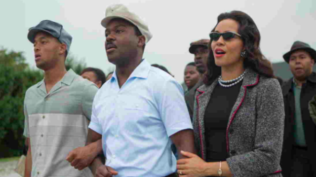 Martin Luther King Jr. (David Oyelowo) and Coretta Scott King (Carmen Ejogo) marching from Selma to Montgomery in the movie Selma. (Paramount)