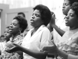 Women singing in a Selma church, 1964.