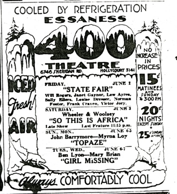 1933 Newspaper Ad. Image courtesy of Theatre Historical Society of America.