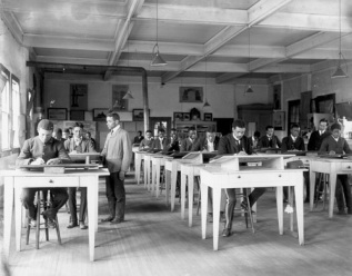 Technical Drawing Class at Tuskegee. Photo by Frances Benjamin Johnston 1902, Library of Congress LC J694-109. www.nps.gov.