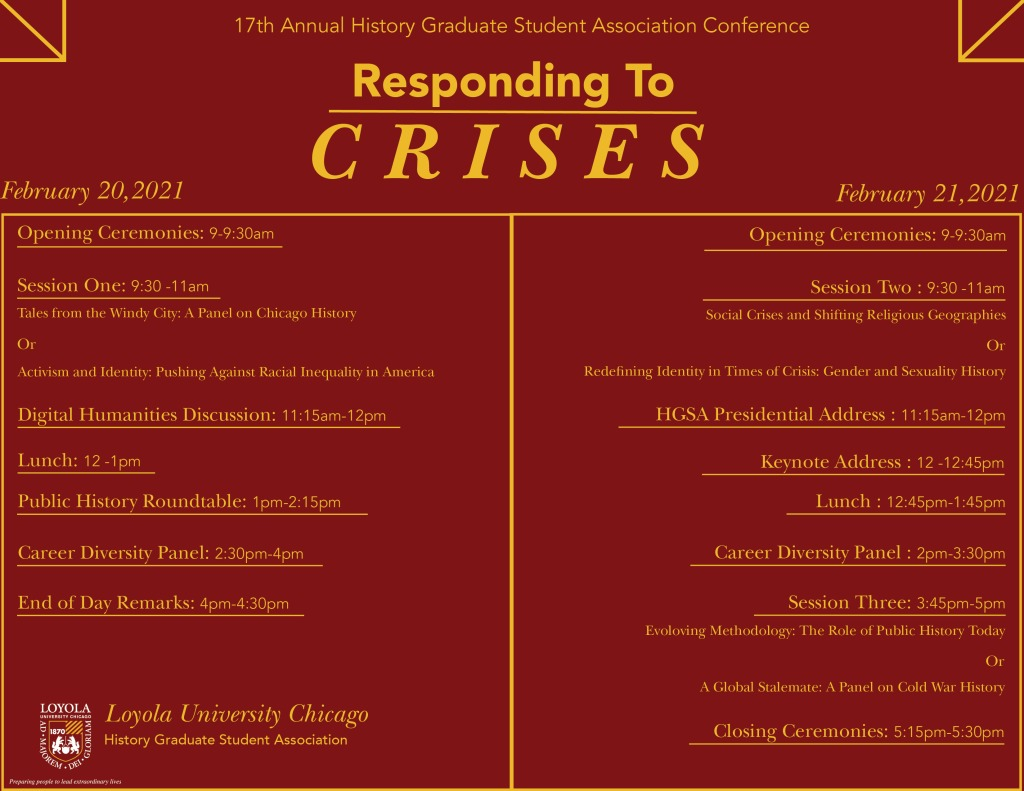 Responding to Crisis tentative schedule
